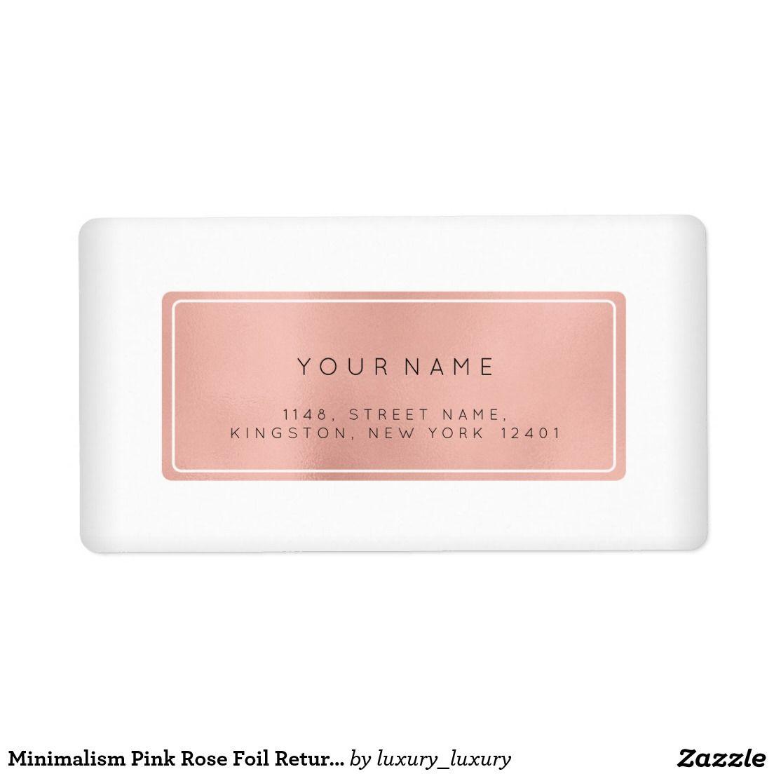 Minimalism Pink Rose Foil Return Address Labels  Return Address