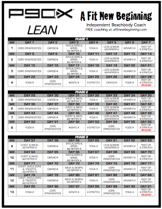 P90x Lean Routine Workout Schedule Sport1stfuture Org