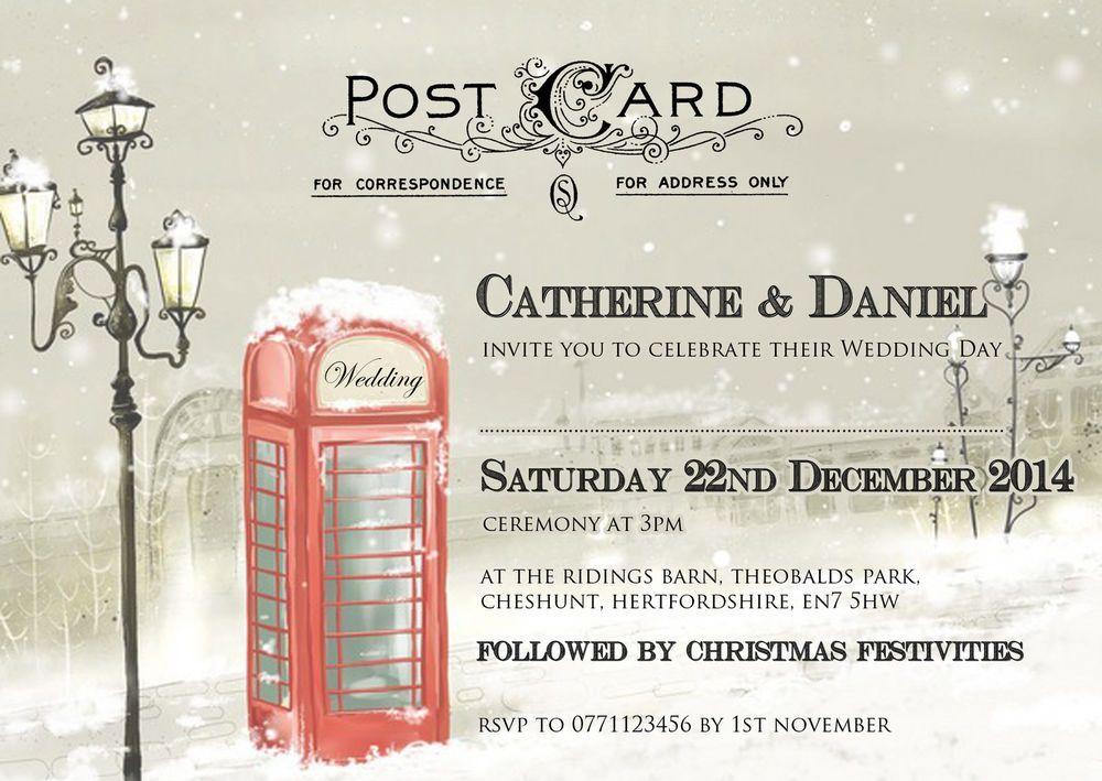 PERSONALISED VINTAGE POSTCARD CHRISTMAS\/SNOW WEDDING INVITATIONS - wedding postcard