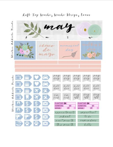 18 Month Stickers: Free Printable May Monthly Planner Stickers From Sticker