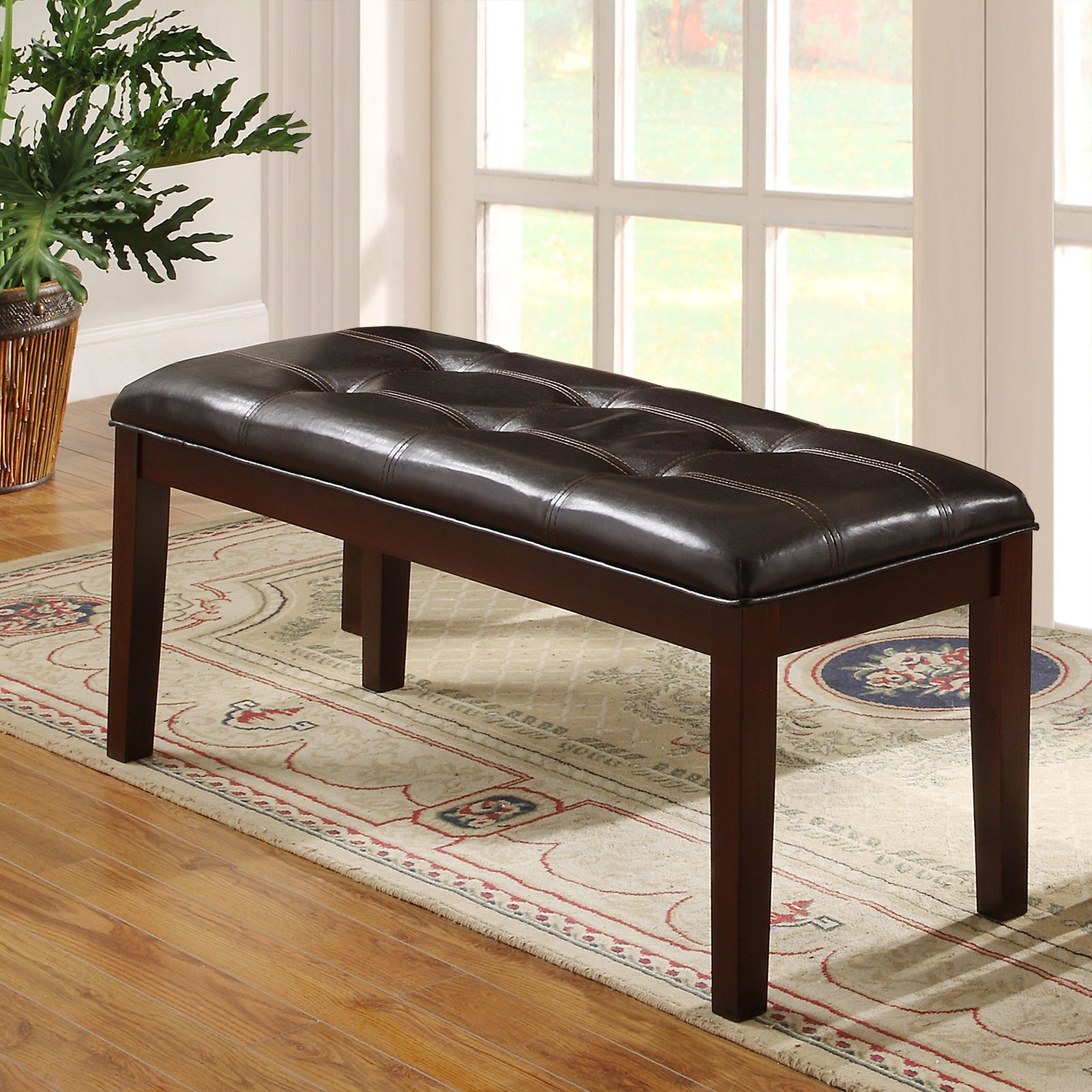 Dining room table with upholstered bench  Oxford Creek Monte Rich Espresso in Casual Upholstered Bench