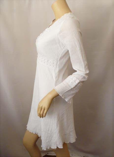 White Hippie BOHO Summer Dress Gauze Crochet Trim | I NEED ...