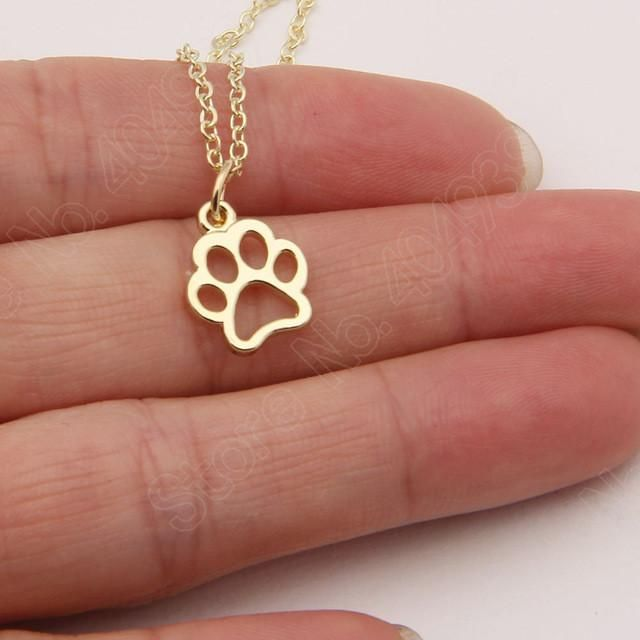 Hollow Paw Print Silver Or Gold Tone Necklace
