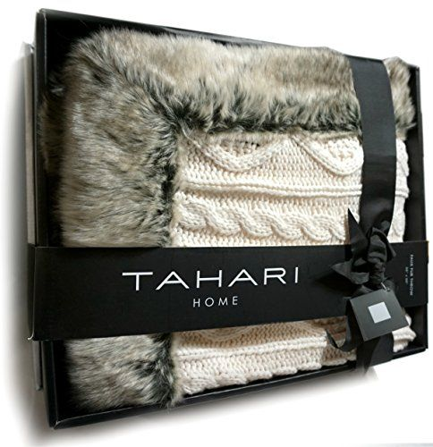 Tahari Luxury Cable Knit Throw With Faux Fur Trim Freya Knitted Cool Tahari Throw Blanket