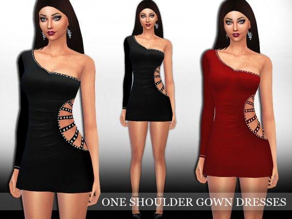 Sims 4 black dress one shoulder