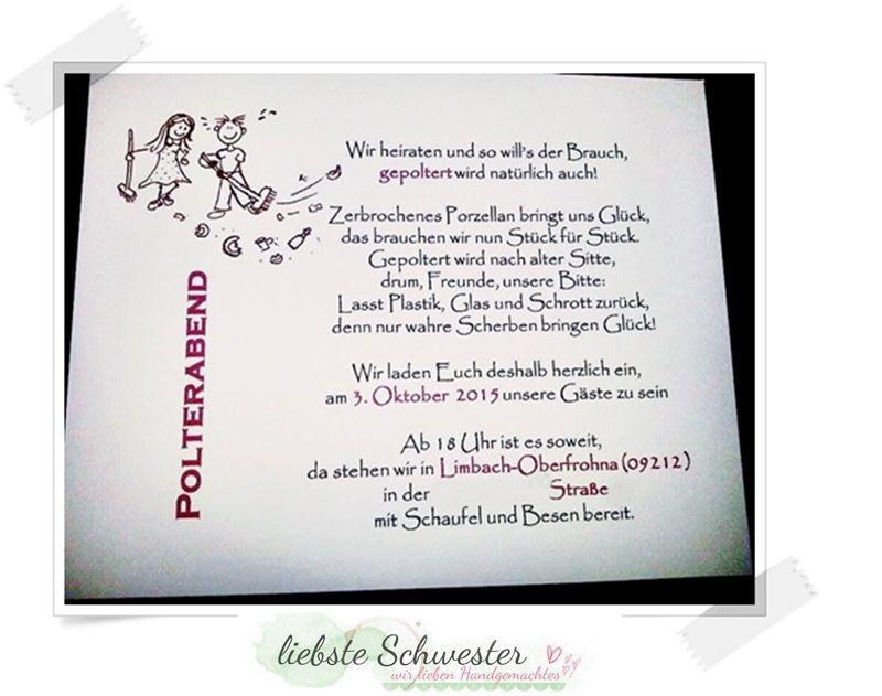 Polterabend Karte.Spruche Hochzeit Karte Einladung