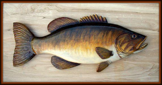 Wooden Fish Wall Decor smallmouth bass 24 inch fish wood carving, folk art fish, cabin