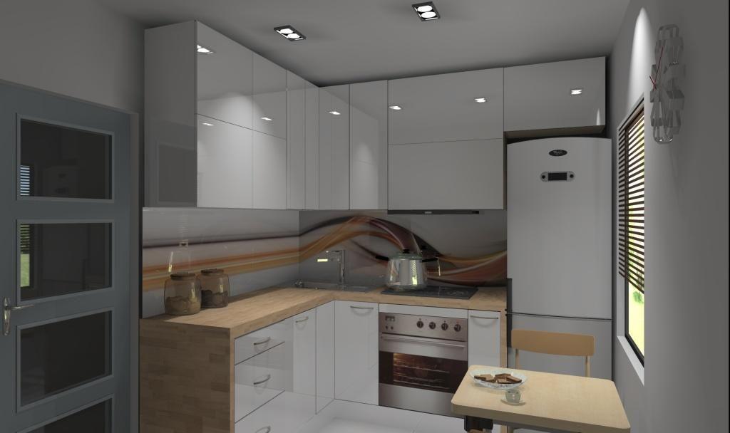 kuchnia mala w bloku wystroj nowoczesny w kolorze bialy