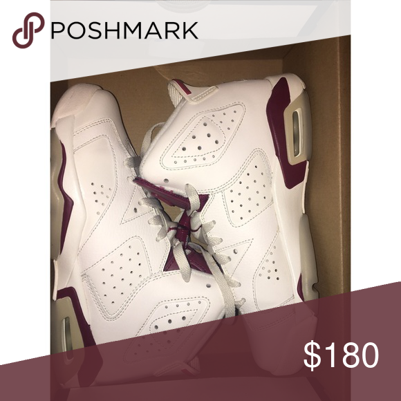 Air Jordan Retro 6 'Maroon' 8/10 condition. slightly yellowing on the bottom which is normal with casual wearing but can be cleaned easily. no creases. Comes with box. Jordan Shoes Sneakers