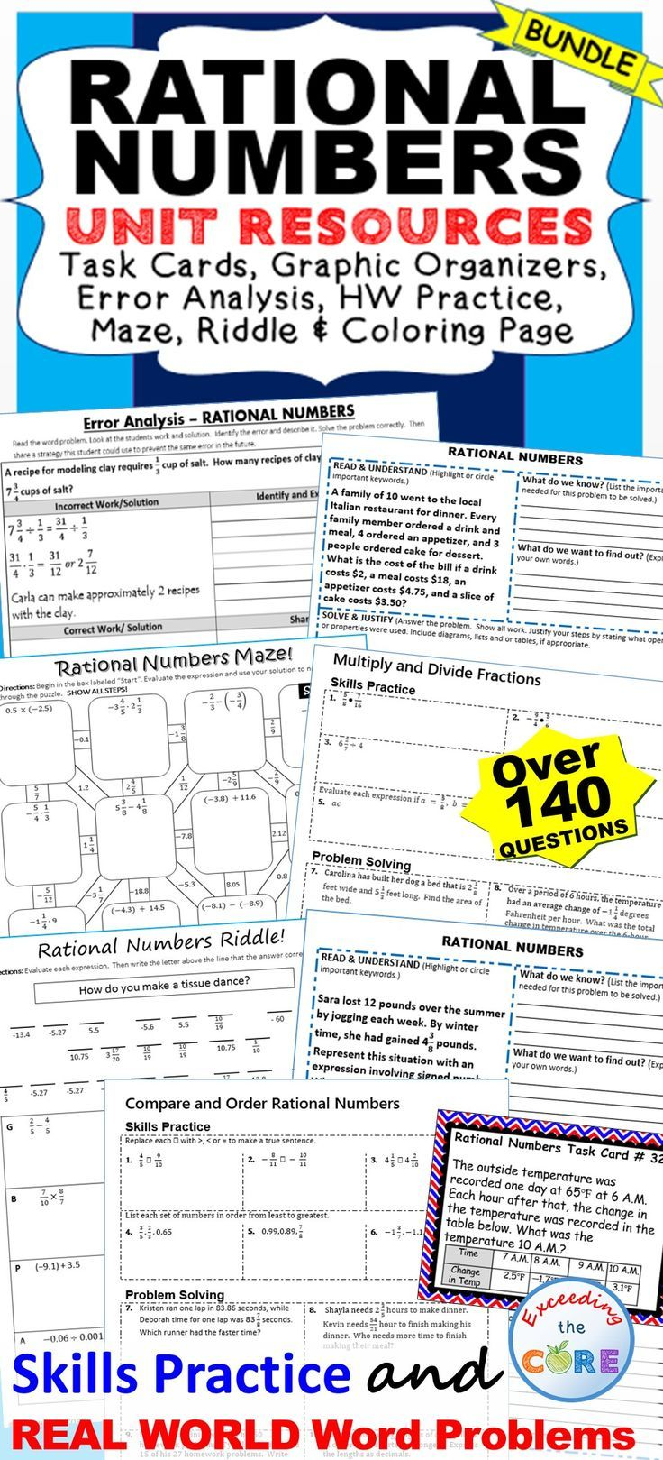 RATIONAL NUMBERS BUNDLE Task Cards, Error Analysis, Problem Solving ...