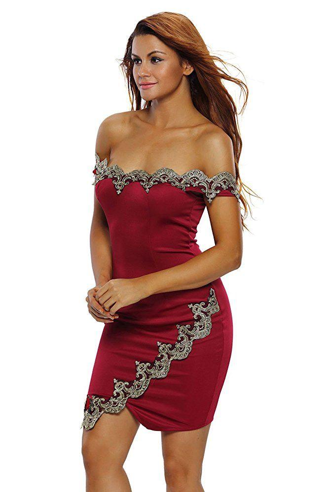Damen Schulterfreies Kleid mit Kurz Spitze Abenkleid ...