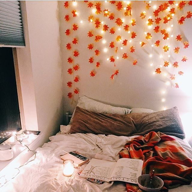 My favorite place, my favorite space #love #pretty #fall #home #cozyfall #falldecor #bed #lights #leaves #halloweenaesthetic