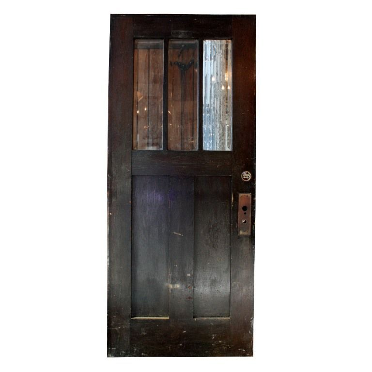 Gorgeous Antique 36 Salvaged Exterior Door With Beveled Glass