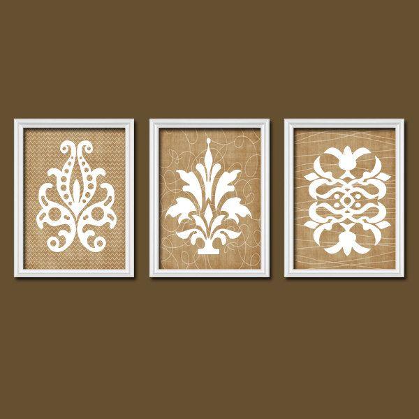 Superb French Country Prints Part - 4: French Country Flourish Tan White Cream Chevron Pattern Artwork Set Of 3  Trio Prints Wall Decor
