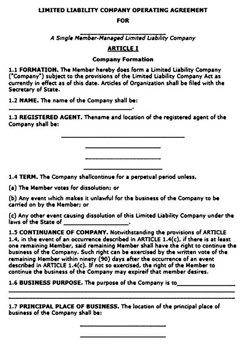 Operating Agreement Template Sample For Pdf And Ms Words Agreement Letter Words Business Template Simple llc operating agreement template
