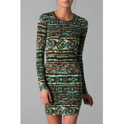 Wholesale Sexy Round Neck Long Sleeve Bodycon Printed Women's Dress (AS THE PICTURE,M) | Everbuying