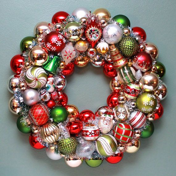 vintage christmas ball wreath mercury glass wreath - Christmas Ball Wreath