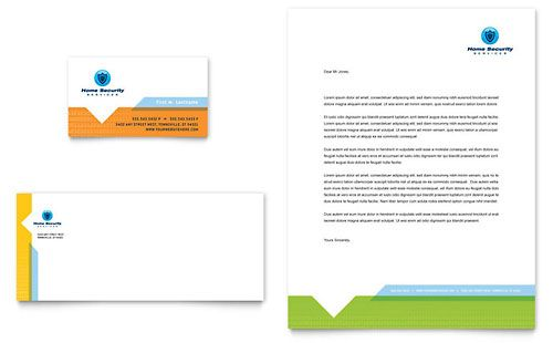 Home Security Systems Business Card Letterhead Microsoft - Microsoft office templates business cards