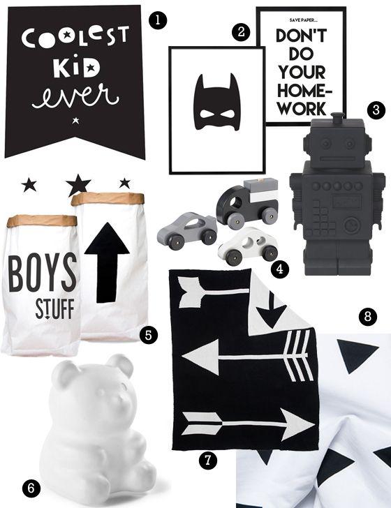 zwart wit jongenskamer, zwartwit kinderkamer, accessoires, Deco ideeën