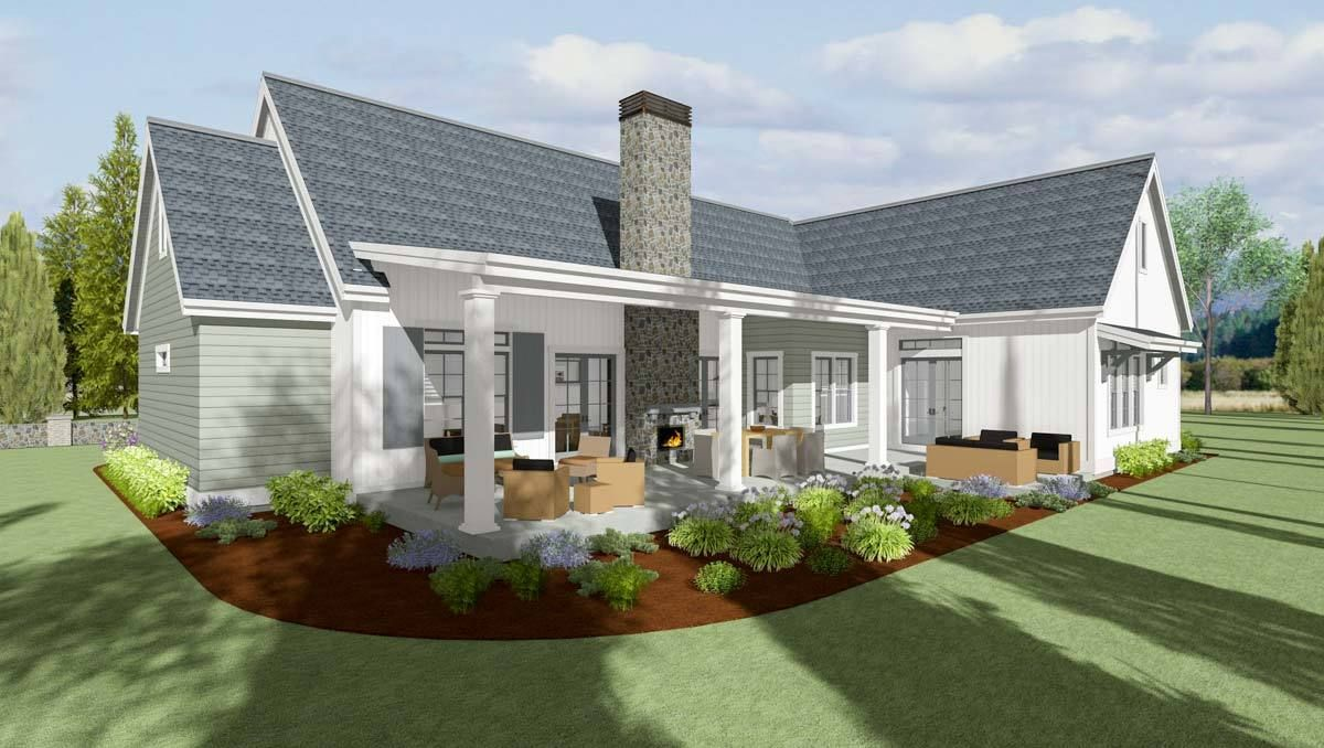 Plan 64456sc 3 bed modern farmhouse with private master suite modern farmhouse plansfarmhouse house