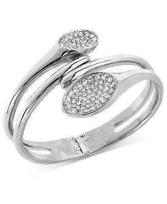 ROBERT LEE MORRIS Soho Silver-Tone Pave Oval Hinged Bangle Bracelet $98 - http://elegant.designerjewelrygalleria.com/robert-lee-morris/robert-lee-morris-soho-silver-tone-pave-oval-hinged-bangle-bracelet-98/