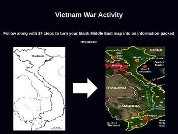 Vietnam war map activity fun easy engaging follow along 50 this download includes the 39 slide powerpoint and the blank vietnam map in both ms fandeluxe Choice Image
