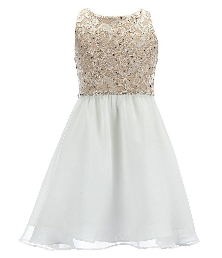 Rare Editions Big Girls 7-16 Glitter Lace Back Keyhole Dress | Pinterest