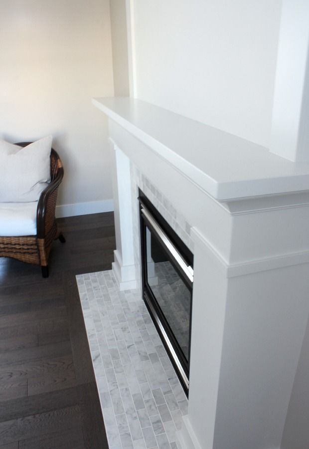 Marble Subway Tile Fireplace Hearth and Surround - White Painted Mantel and Trim - Satori Design for Living