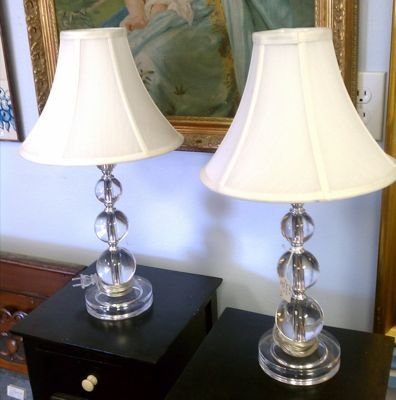 Pair Of Deco Inspired Lamps Bring Light And Sophistication To The Living Room Or Bedroom