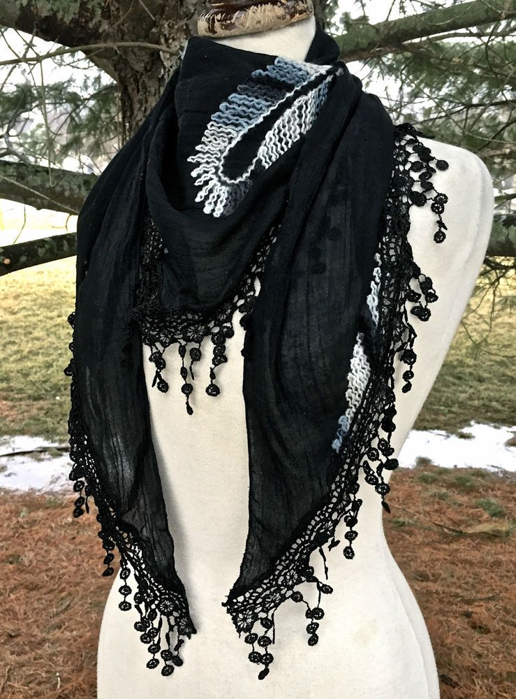 SCARF SARONG embroidery paisley triangle lace fringe black gray white 62x22 NEW #Import #trianglescarfsarong