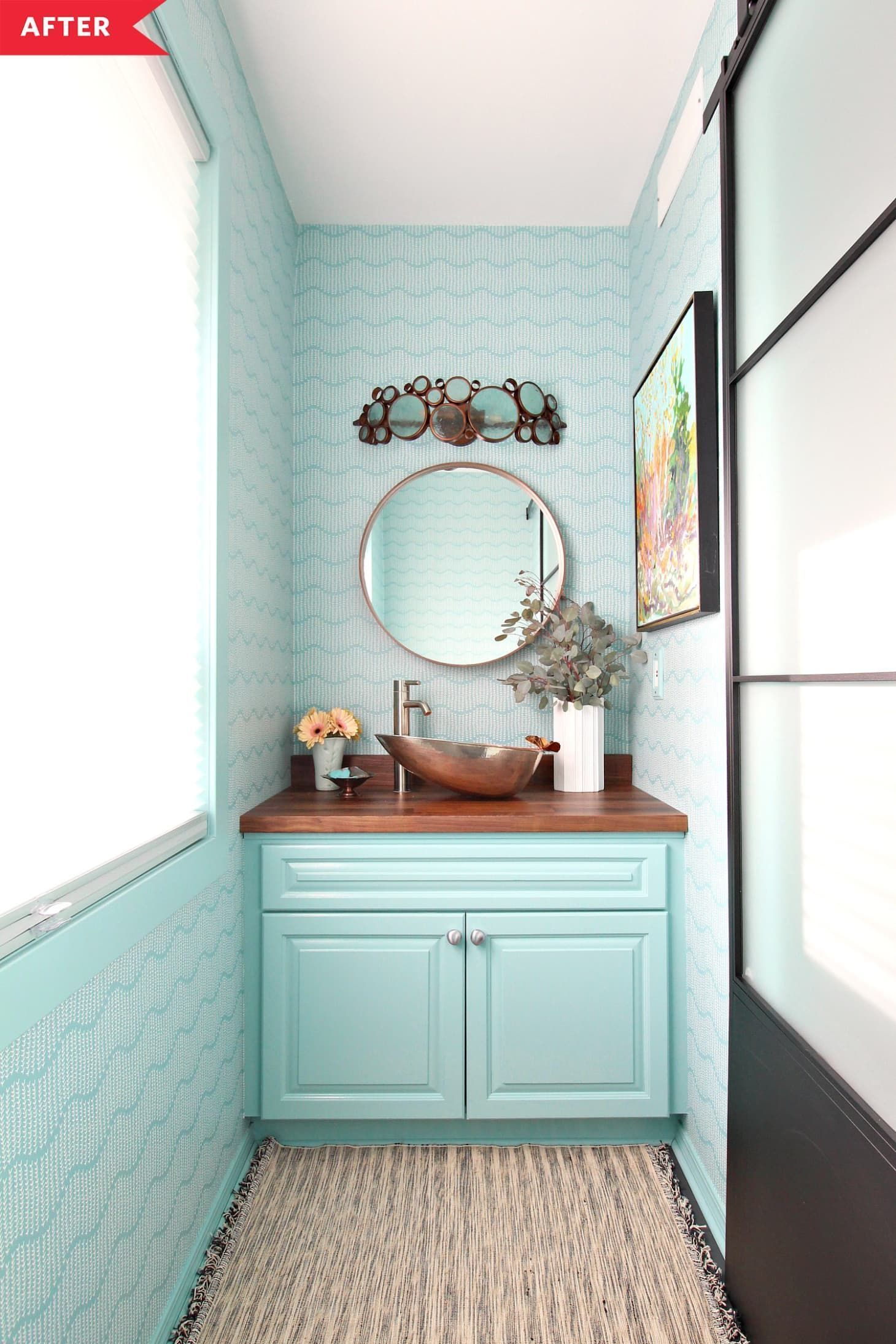 Photo of Before and After: This blue-green bathroom creates a real stir, #Bad …