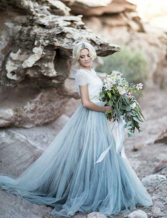 Vestidos de novia azul celeste