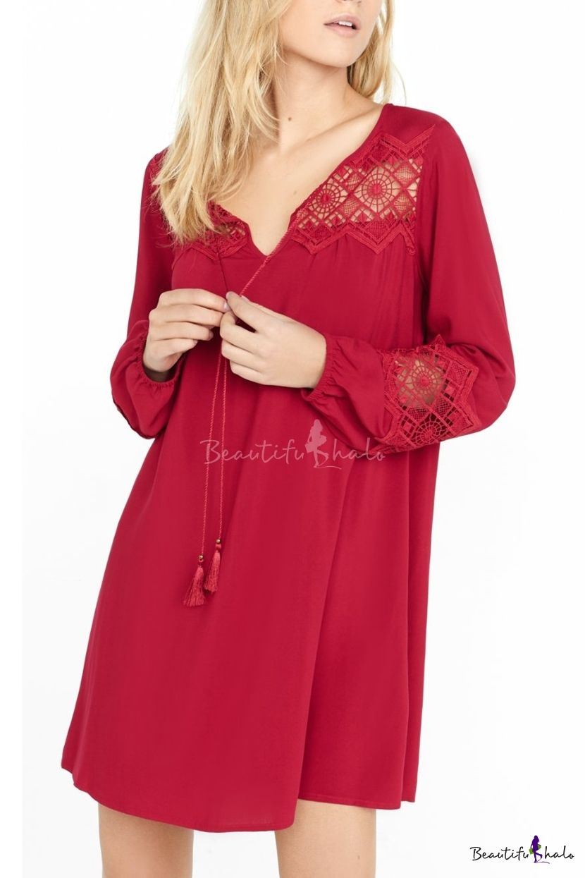 Plain Lace Insert String Neck Long Sleeves Tunic Dress