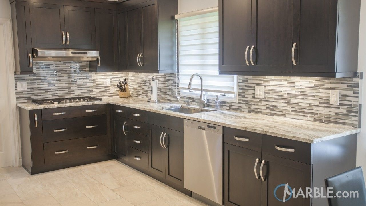 Fantasy Brown Quartzite Kitchen Counter With Dark Cabinets