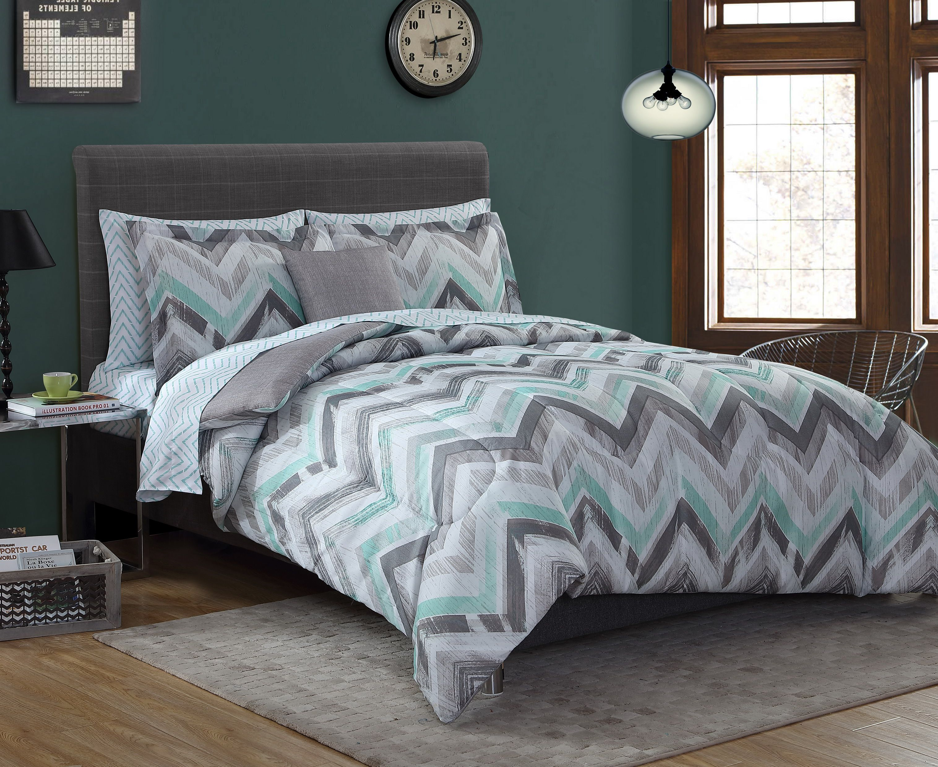 Essential Home Complete Bed Set Chevrongray Mint Green Bed Linens Luxury Bedding Sets Teal Bedding Sets