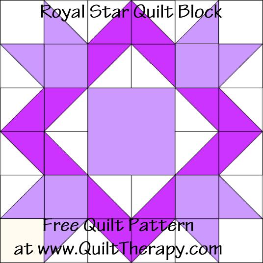 Royal Star Quilt Block Free Pattern At Quilttherapy Com Bandana Quilt Star Quilt Blocks Star Quilt Patterns