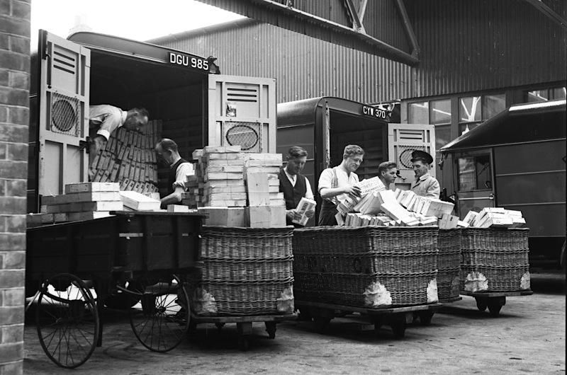 Sorting boxes of fish sent by post, Great Yarmouth, 1937  © Royal Mail Group Ltd 2012, courtesy of The British Postal Museum & Archive