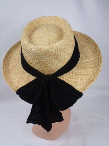 197e9e8ca Details about Women's Scala Straw Sun Hat Wide Brim Black Band Bow ...