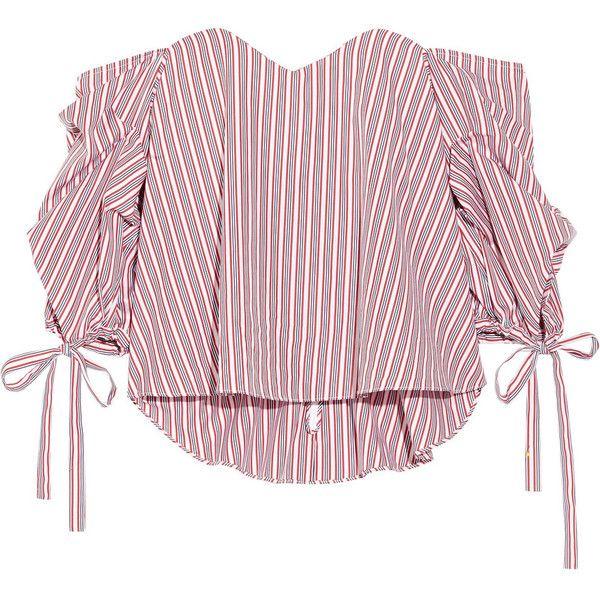 14c54e04775fea Caroline Constas Gabriella off-the-shoulder striped cotton bustier top found  on Polyvore featuring