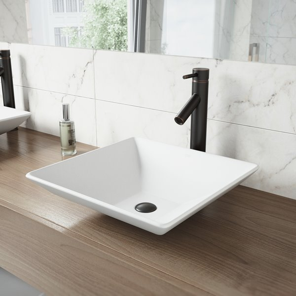 Vigo Vessel Drop In Bathroom Sink With Vessel Faucet White Vgt1016 Rona Unique Bathroom Sinks Stone Vessel Sinks Vessel Faucets
