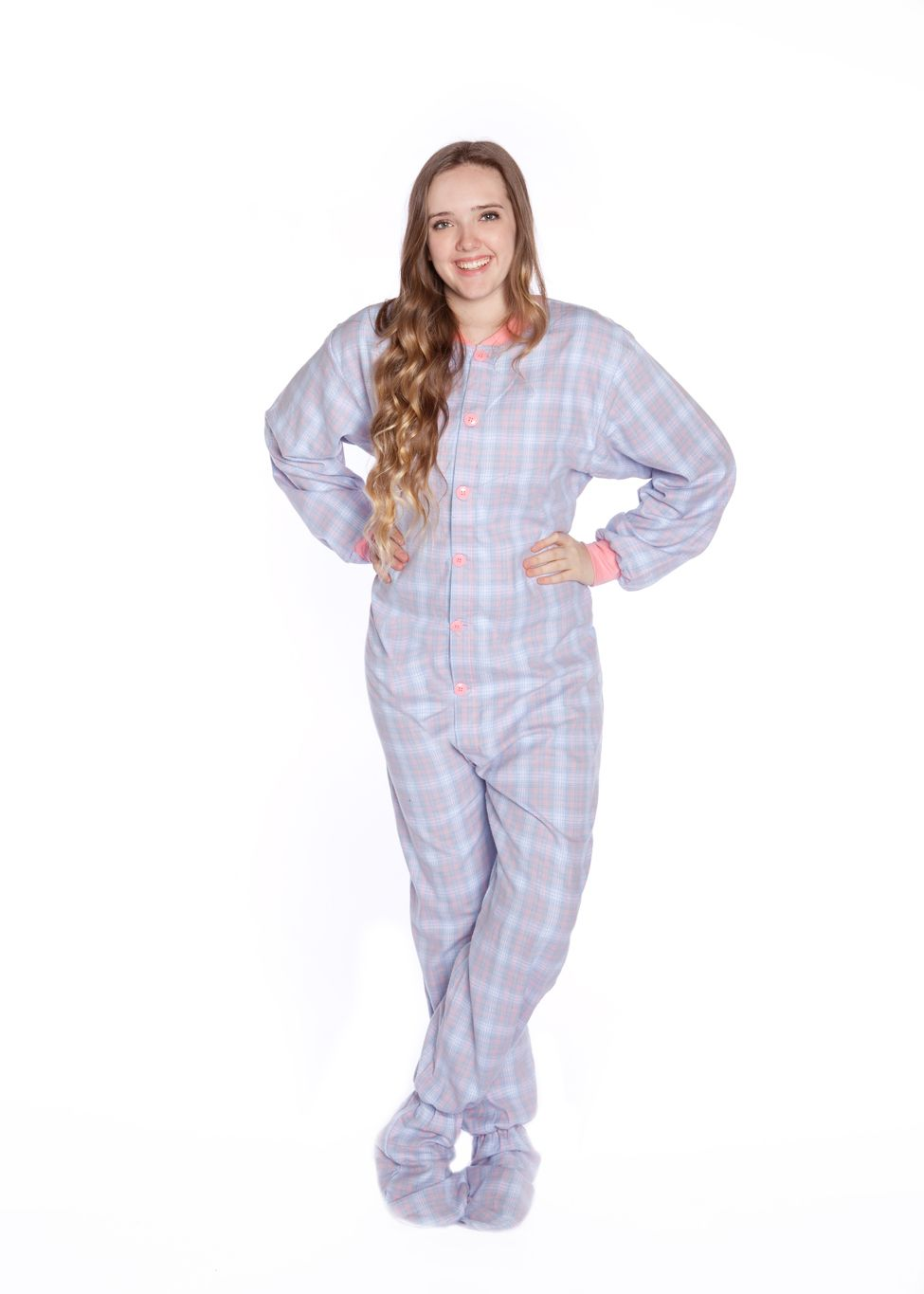 6a8ce351de Big Feet Adult Footie Pajamas 108 Baby Blue   Pink Plaid for Men or Women  100% Double Brushed Cotton Flannel available with butt flap or without the  butt ...