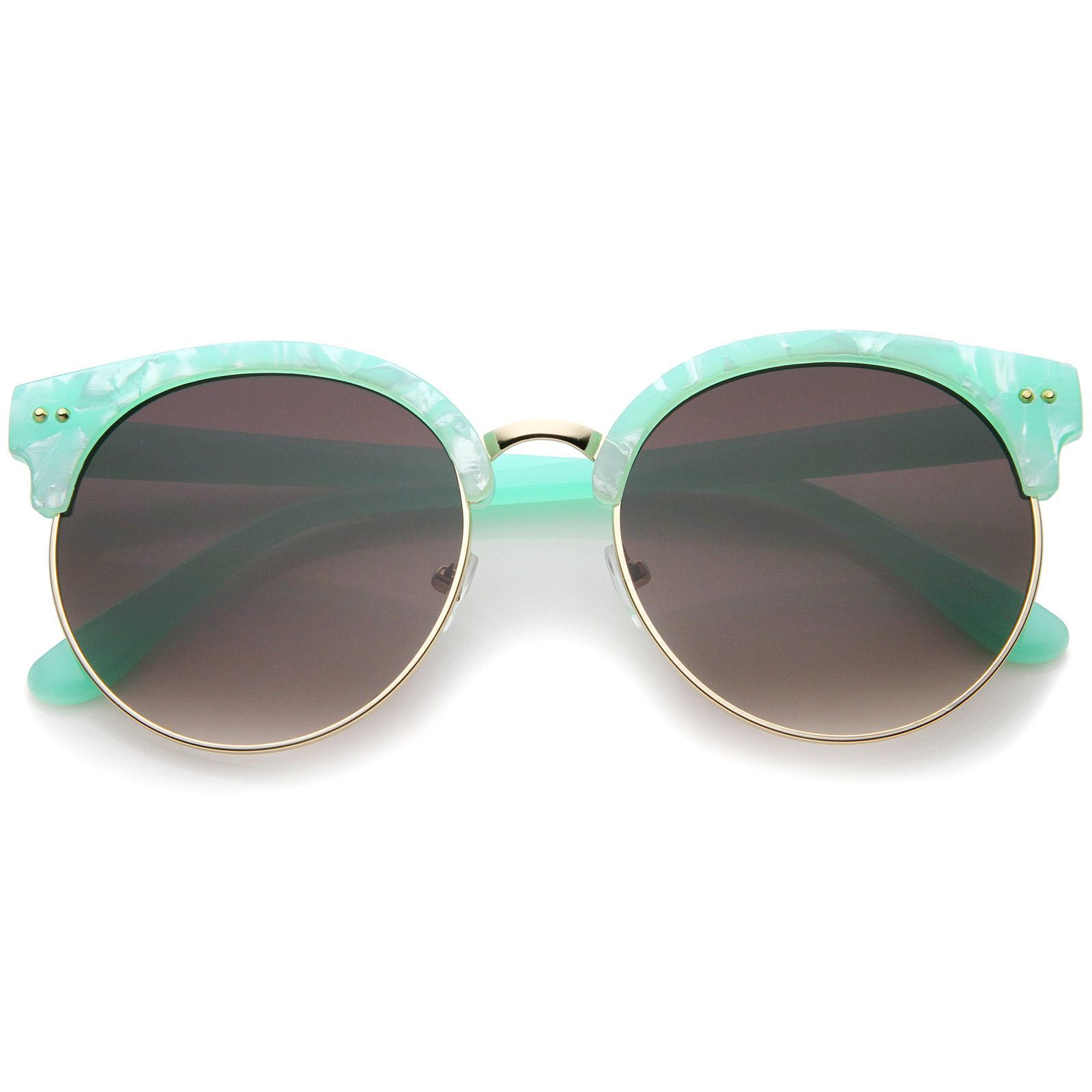 95e530abf6 Womens Half-Frame Marble Finish Moon Cut Flat Lens Round Sunglasses   oversized  sunglass