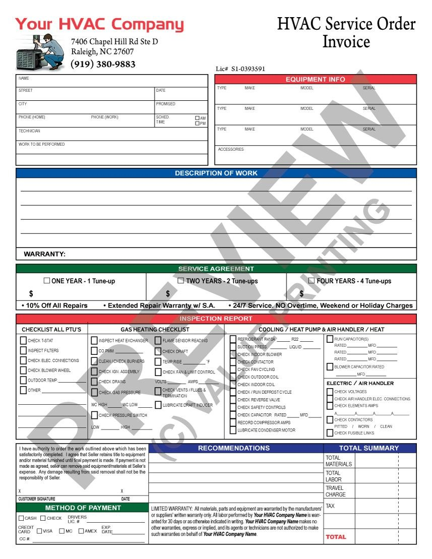 Hvac Invoice With Inspection Report And Hvac Service