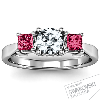 Three Stone Eternity with Princess Accents Ring   Jewlr