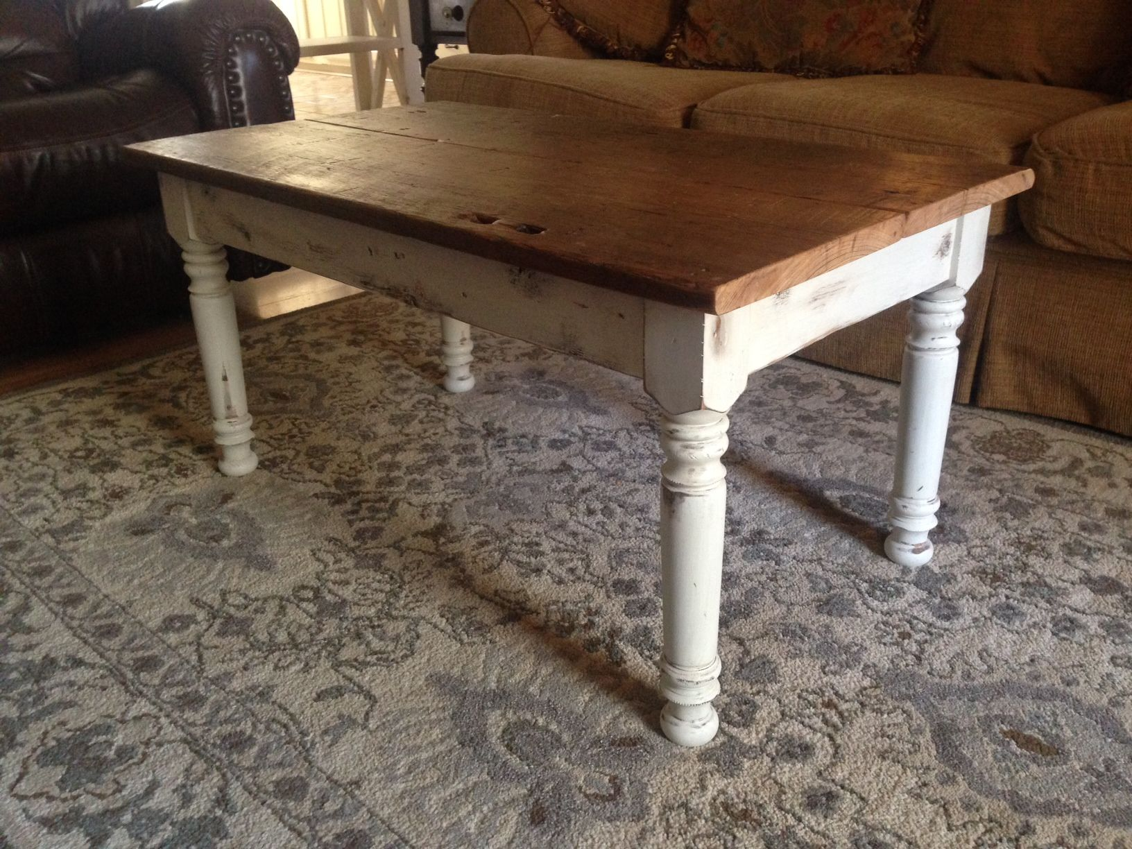 Marvelous Reclaimed Wood Coffee Table With Osborne Farm Table Legs   Osborne