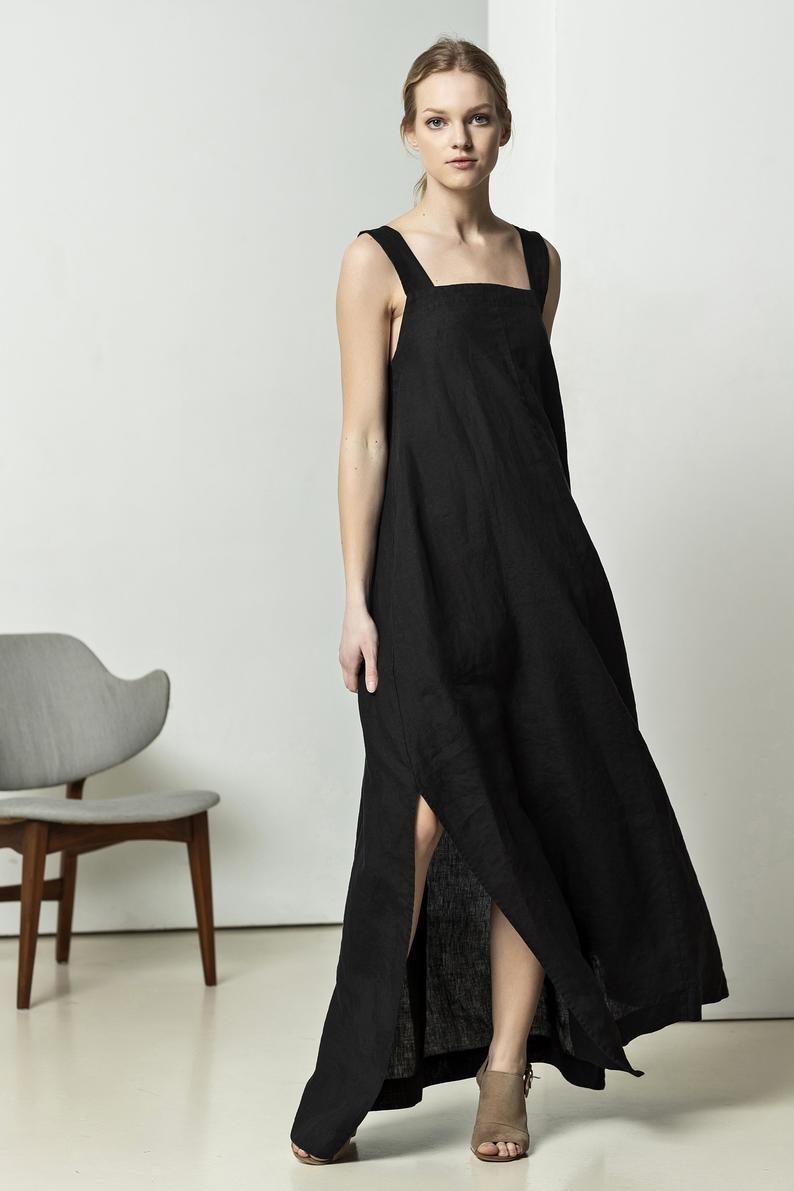 Nieuw NEW Black linen maxi dress   Linen evening dress   Black linen GN-24
