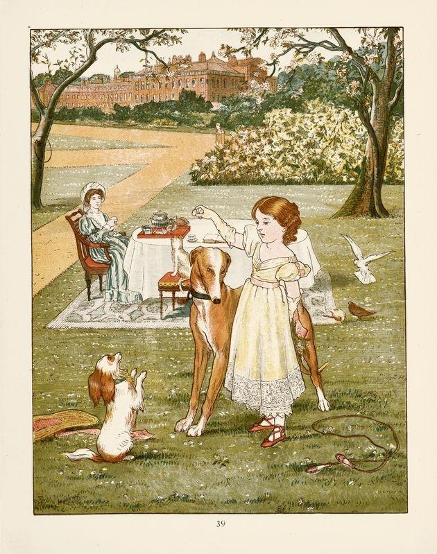 1881 children's book illustration with Greyhound.