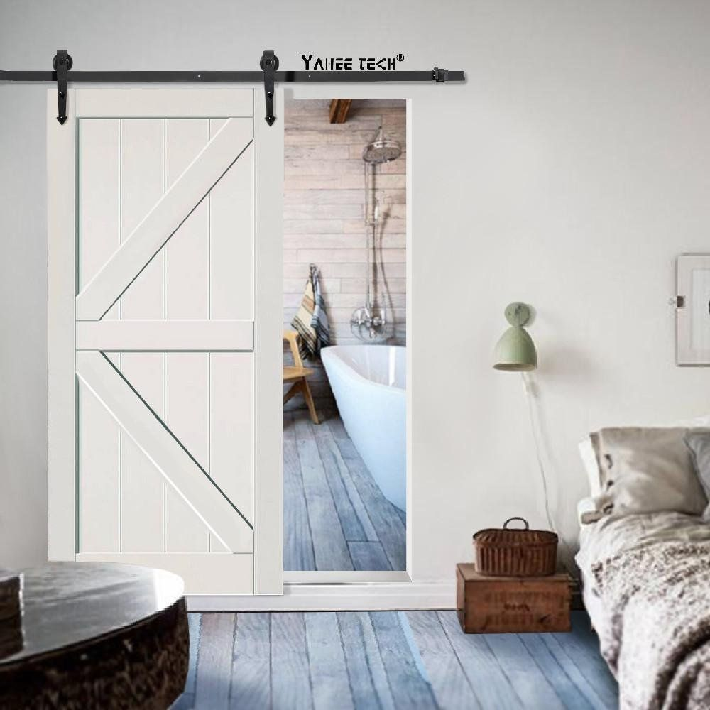 Amazon Com Yaheetech 6 Ft Sliding Barn Door Hardware Set Modern Steel Interior Wood Closet Track K Modern Door Hardware Modern Door Sliding Barn Door Hardware