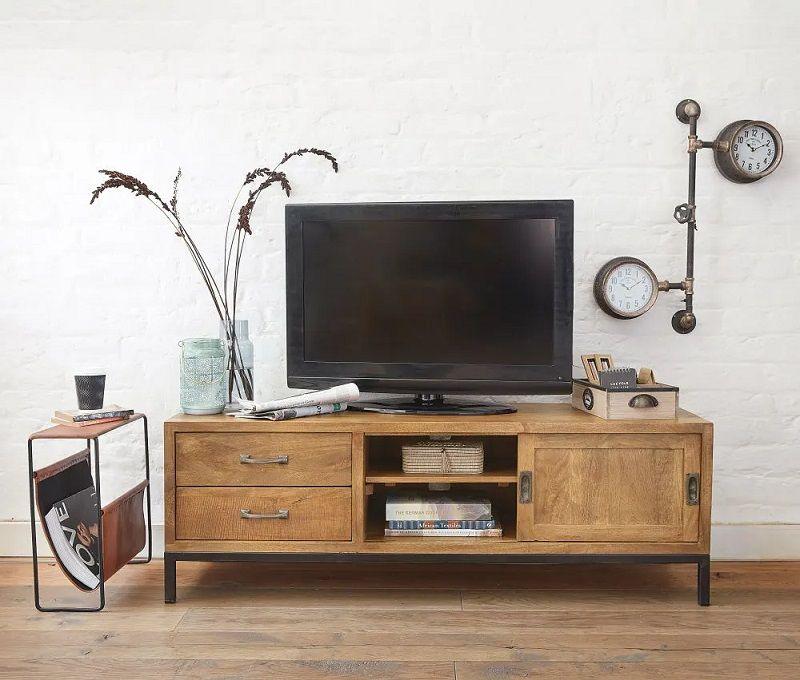 Meuble Tv Hipster 1 Porte 2 Tiroirs En Manguier Massif Et Metal Noir Deco Meuble Tv Meuble Tv Maison Du Monde Mobilier De Salon