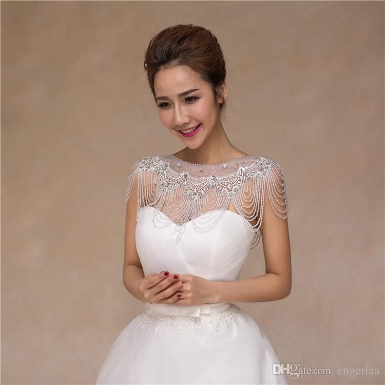 2015 Handmade Fashion Wedding Wraps Rhinestone Beading Chain Shoulder Charming Crystal Wedding Formal Evening Pageant Bridal Accessories Ah7 From Engerlaa, $61.26 | Dhgate.Com